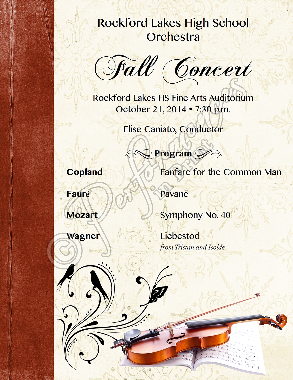 Orchestra Fall Concert Program High School Music  Concert