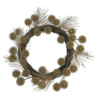 "Threshold Gold Pine Wreath 22"" Rustic Glam Wall Door Decor Sprigs Berries NEW"