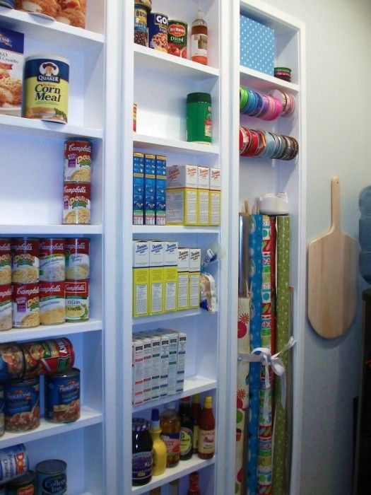 Pantry Shelves Built In Between The Studs To Add Space