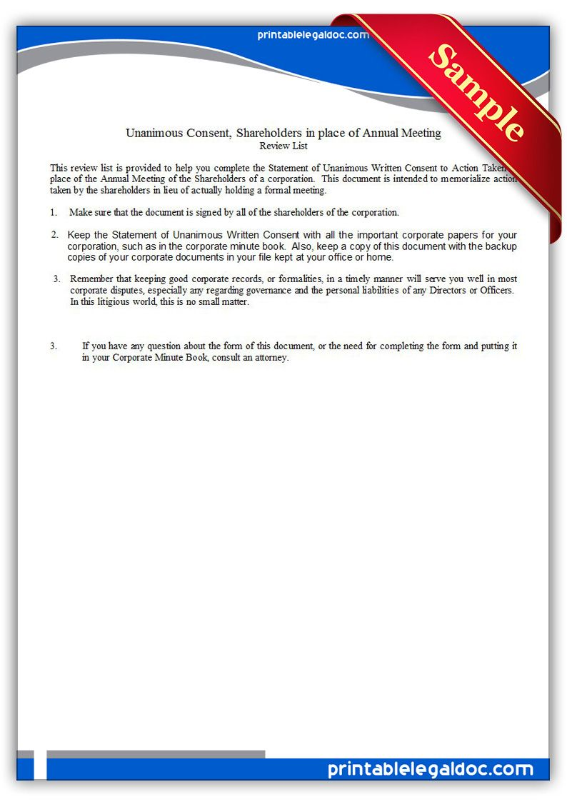Unanimous Consent Shareholders In Place Of Annual Meeting Being A Landlord Legal Forms Power Of Attorney Form