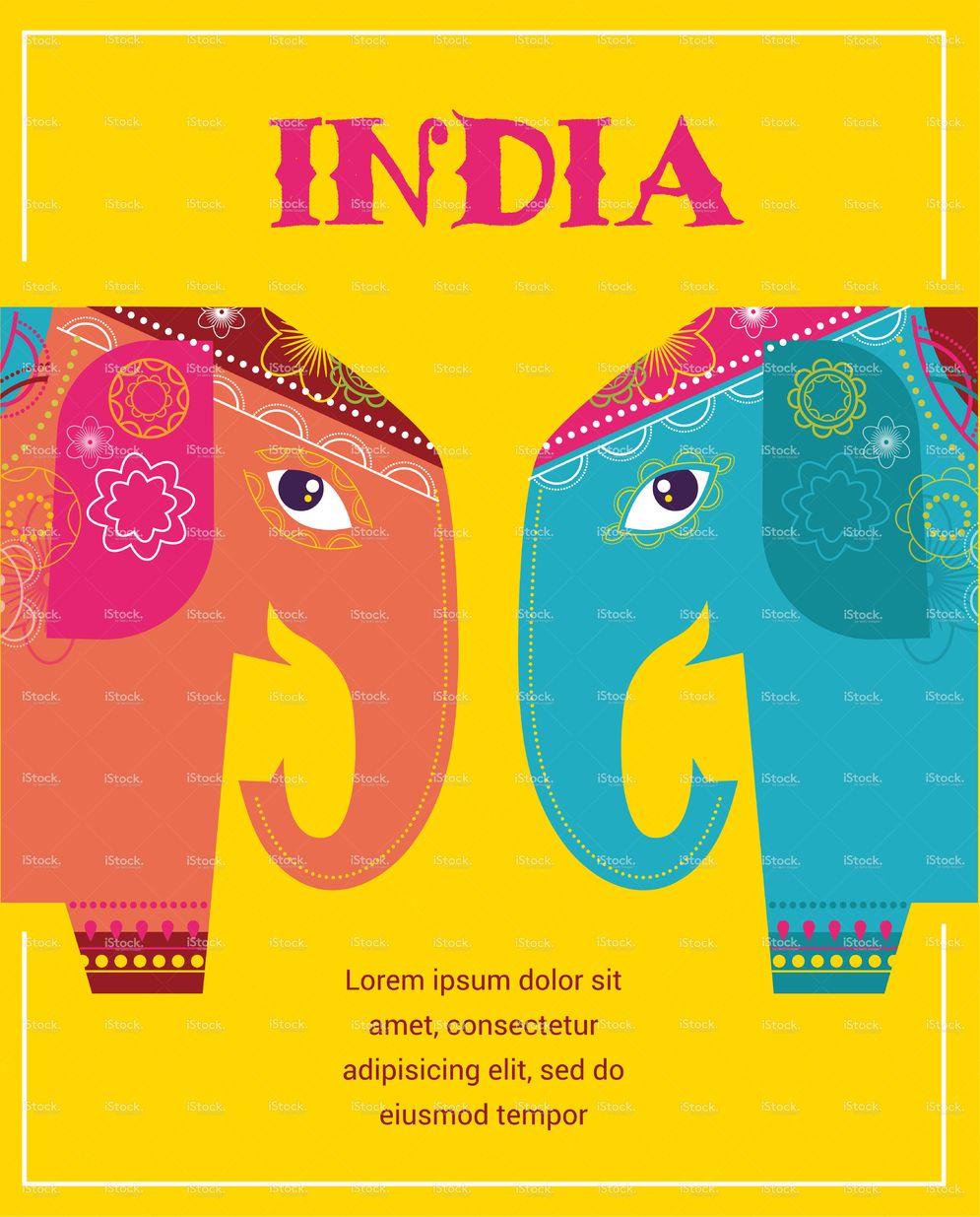 India - background with patterned colorful elephants   Elefantes ...