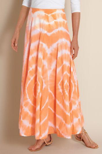 Sunset Skirt I - Tie Dyed Skirt, Long Cotton Skirt, Tropical Skirt | Soft Surroundings Outlet