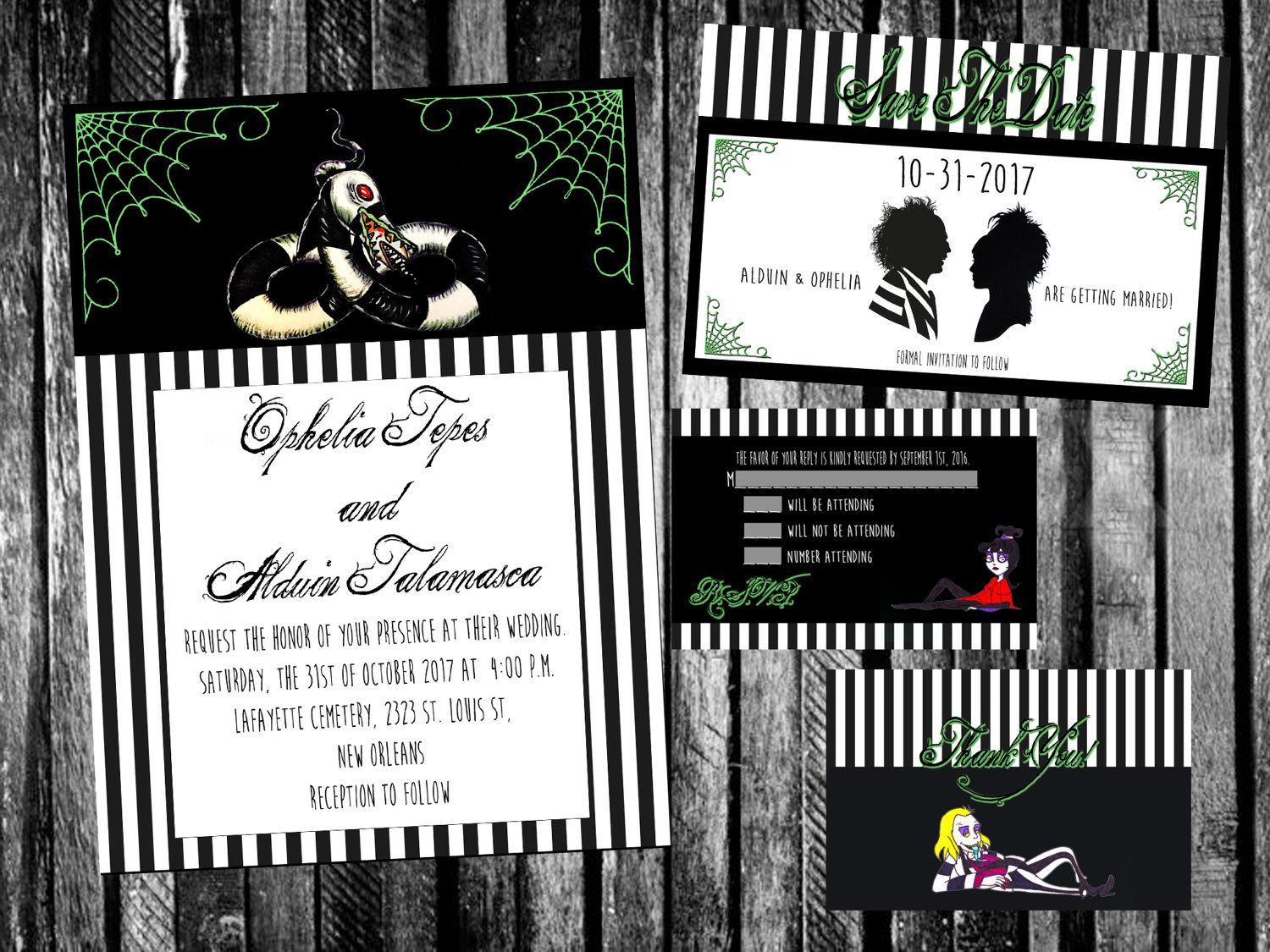 Lydia and Beetlejuice Inspired Wedding Invitation Save the   Tattoos ...