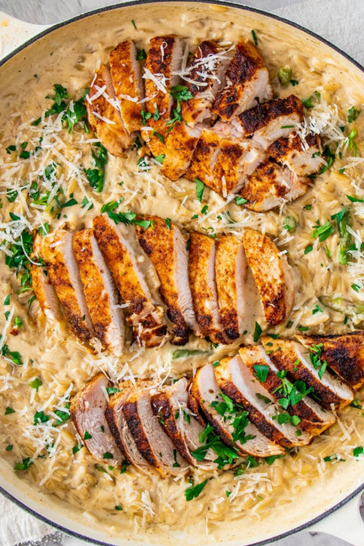 Parmesan Orzo with the Delicious Chicken and Fresh