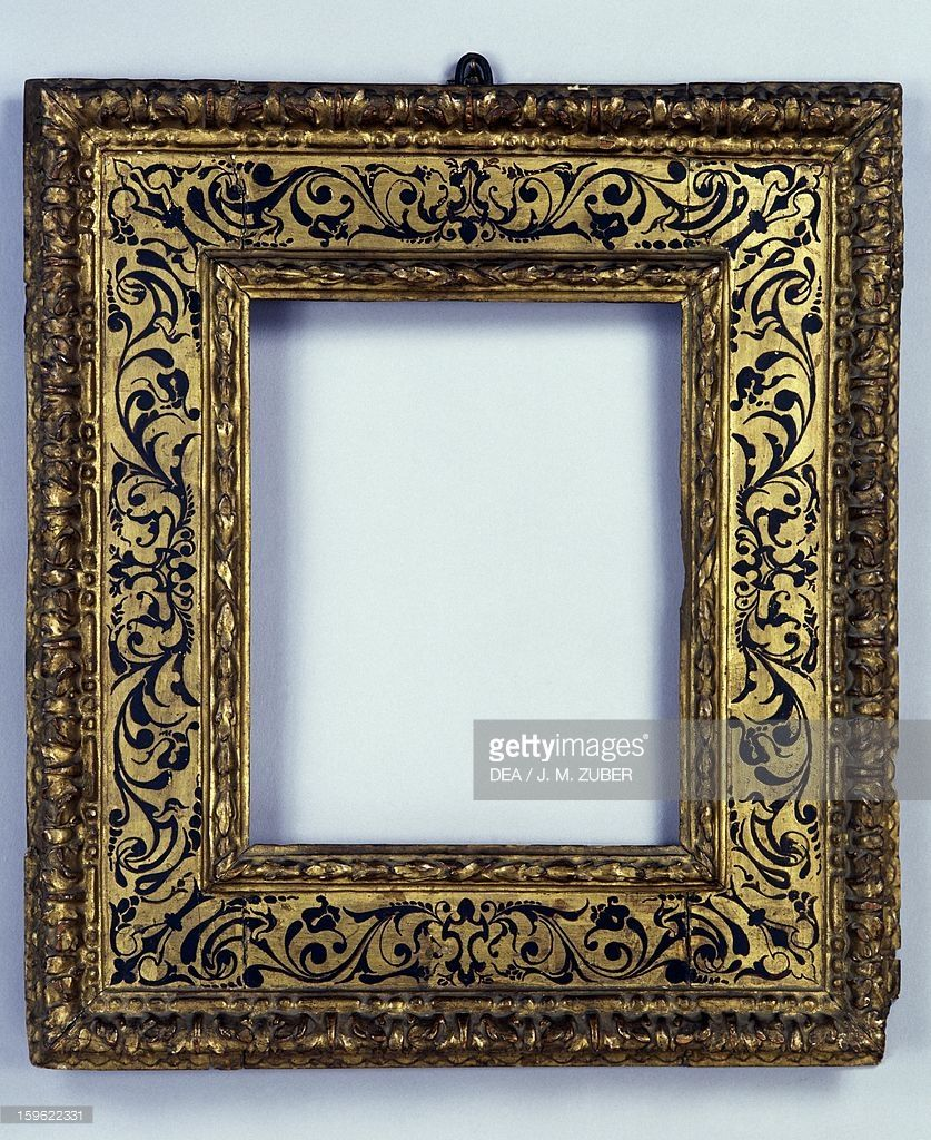 Stock-Foto : Renaissance frame, carved and gilded wood, France, 16th ...