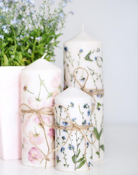 Muttertags DIY Geschenkidee Kerze mit getrockneten Blumen #dryidea