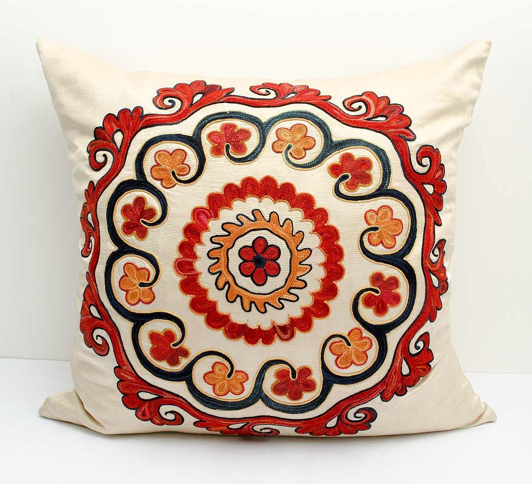 X fully silk handmade embroidery suzani pillow cover a great