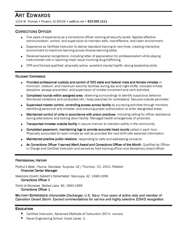 Detention Officer Resume Example - http\/\/topresumeinfo\/detention - hr resume examples