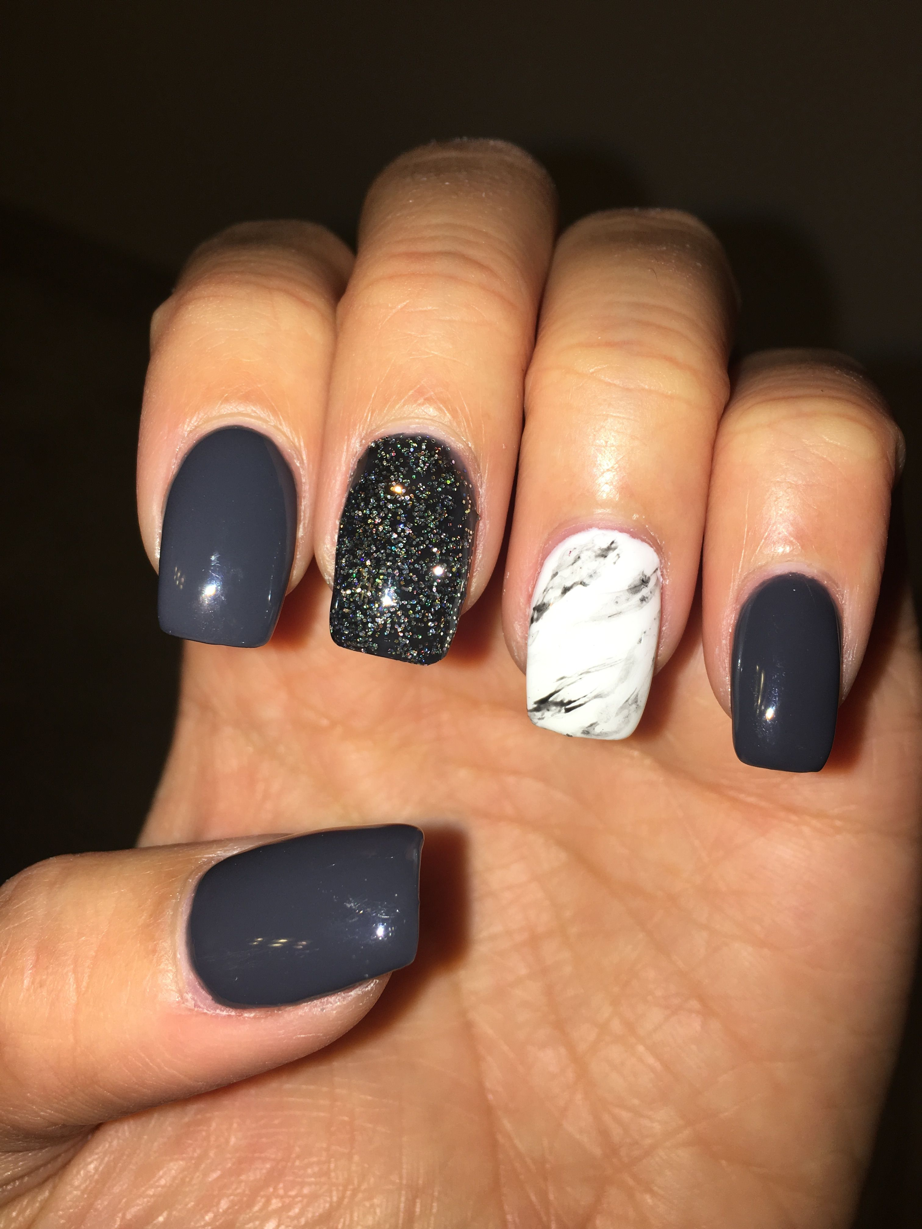 navy gray with glitter and marble