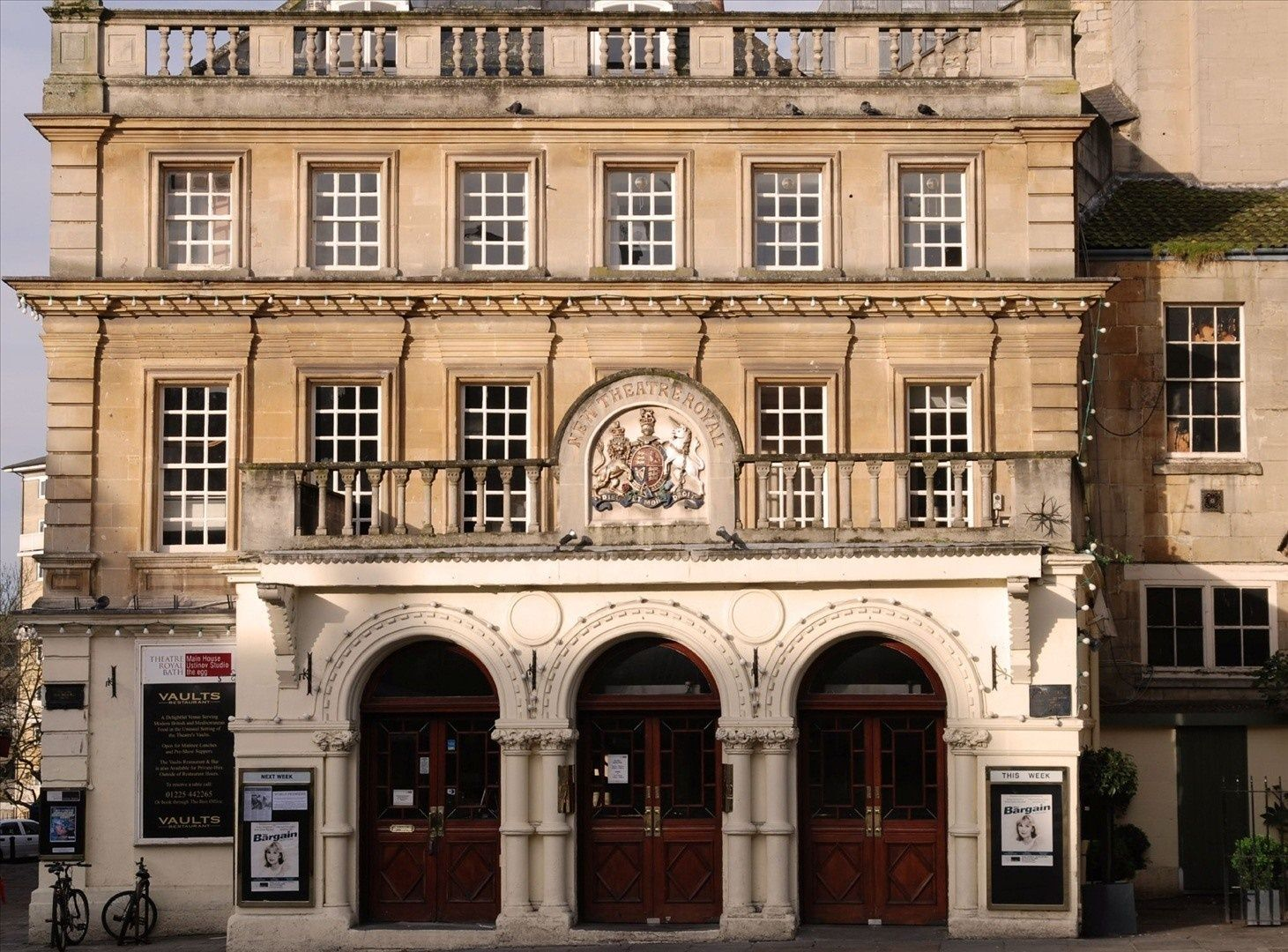 SIGHTS. Theatre Royal Bath. Theatre Royal, located next to the new Seven Dials development, was restored in 1982 and refurbished with plush seats, red carpets, and a painted proscenium arch and ceiling; it is now the most beautiful theater in Britain. It has 880 seats, with a s