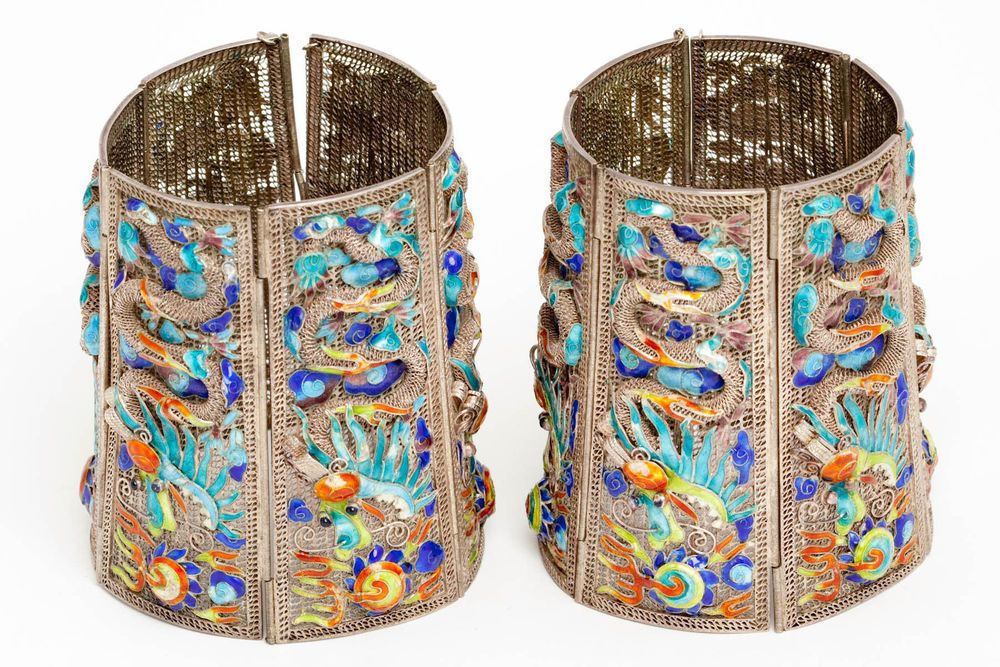Antique Chinese Elaborate Silver Filigree Dragon Enamel Matching Cuff Bracelets