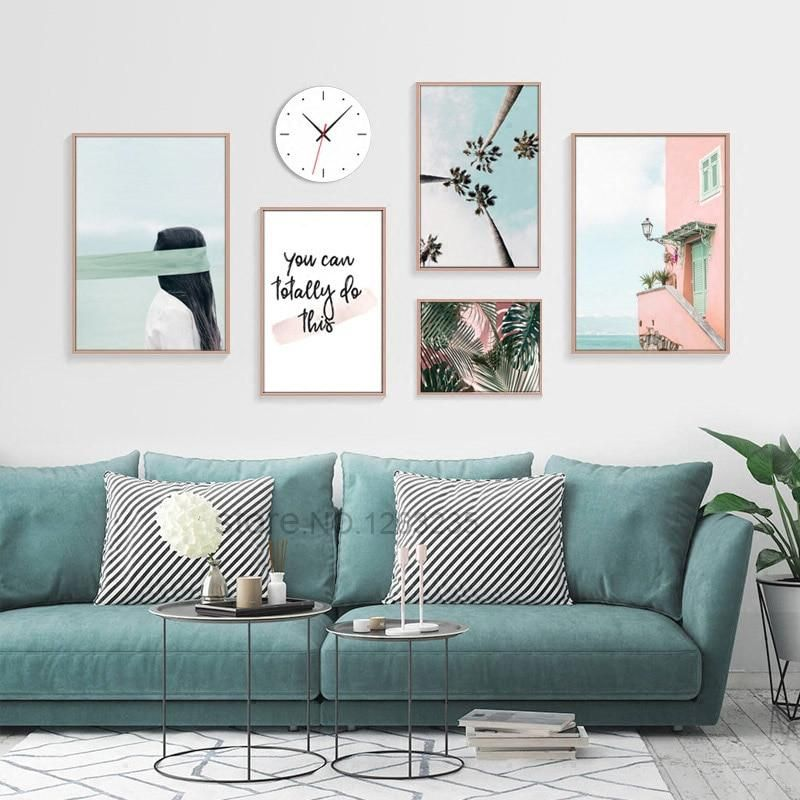 Photo of Nordic Poster Coconut Tree Wall Art Green Leaf Canvas Prints  Blue Decor Unframed