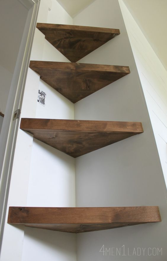 Love how these floating shelves look Love