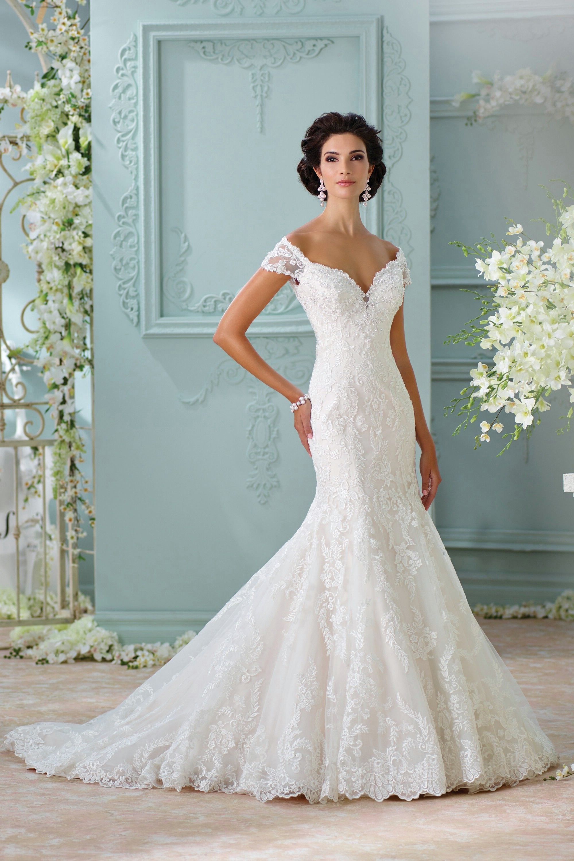 Ivory+Off+The+Shoulder+Chapel+Train+Lace+Trumpet+Mermaid+Wedding+ ...