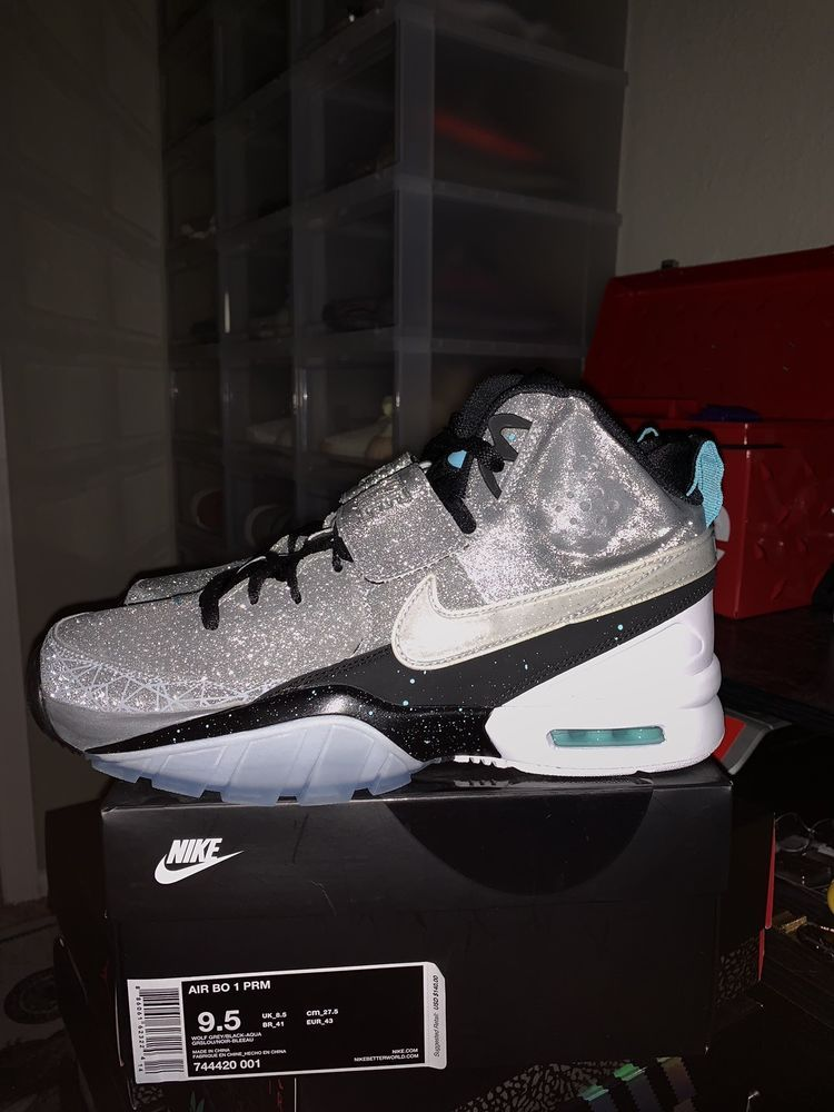 Nike Air Bo 1 Premium Diamond Quest Wolf Grey Black Aqua Silver