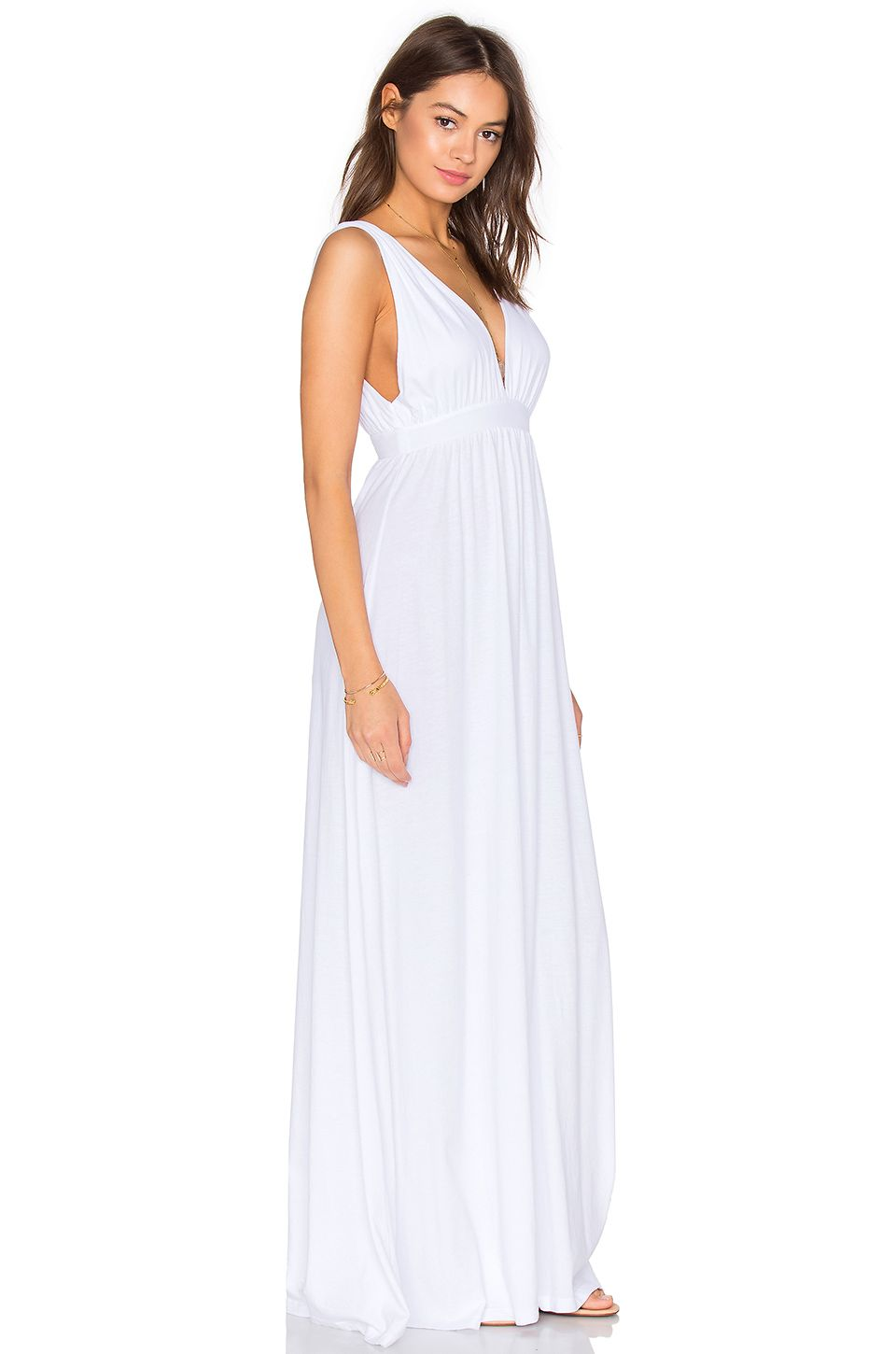 Bobi supreme jersey maxi tank dress in white with images