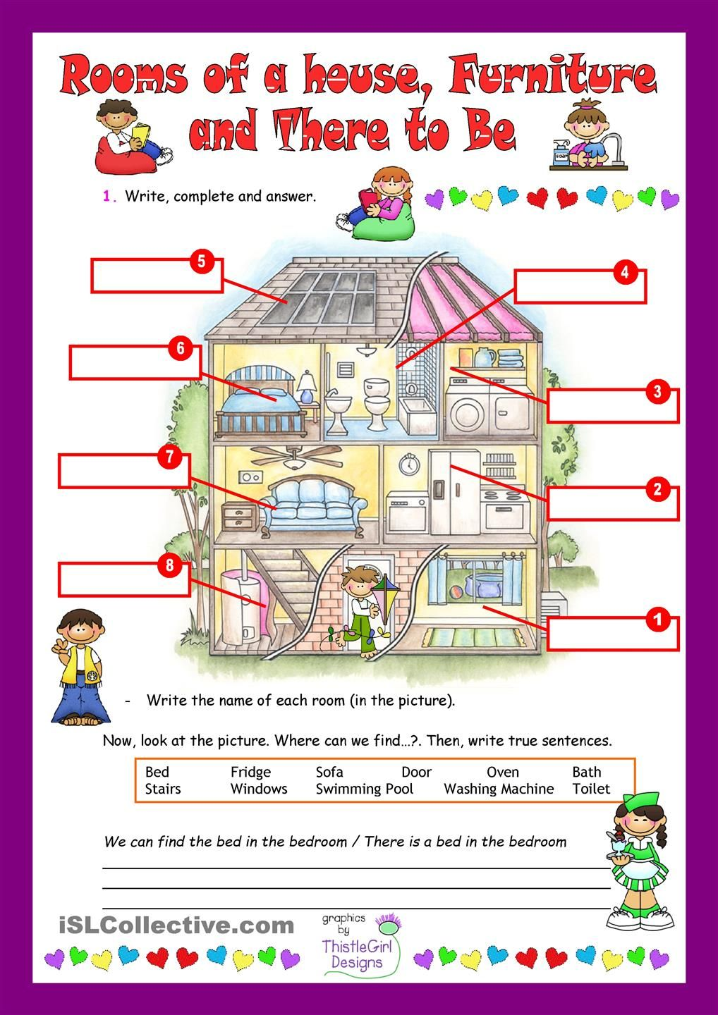 Rooms Of A House English Teaching Materials Spanish Worksheets