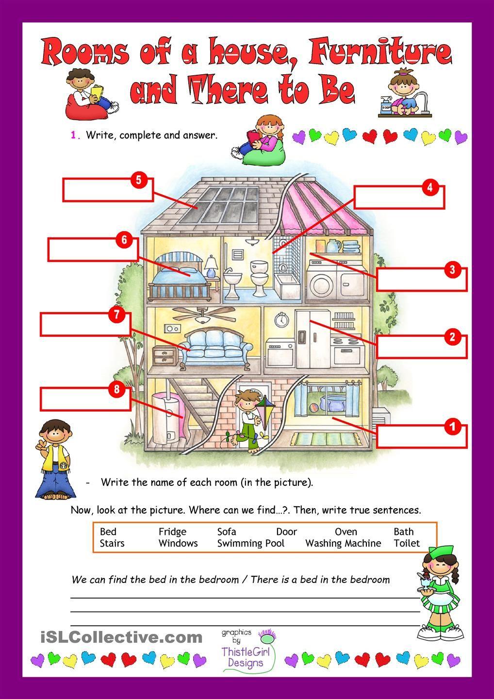 House Rooms Worksheet: Espanja, Englanti