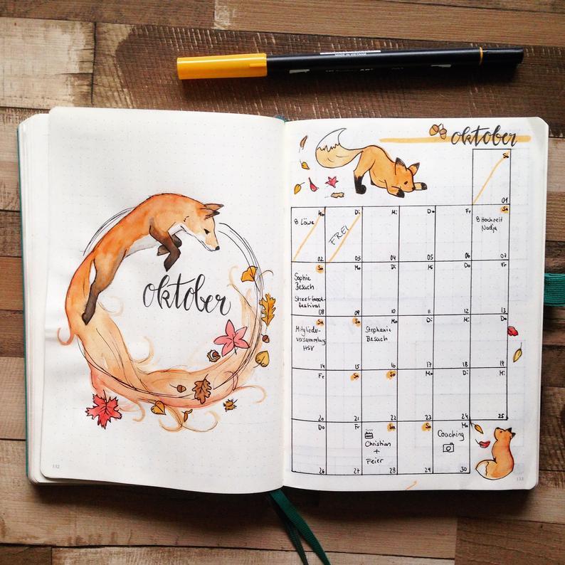Bullet Journal, Bujo, Monthly Layout, Fox, Fox, Planner Stickers
