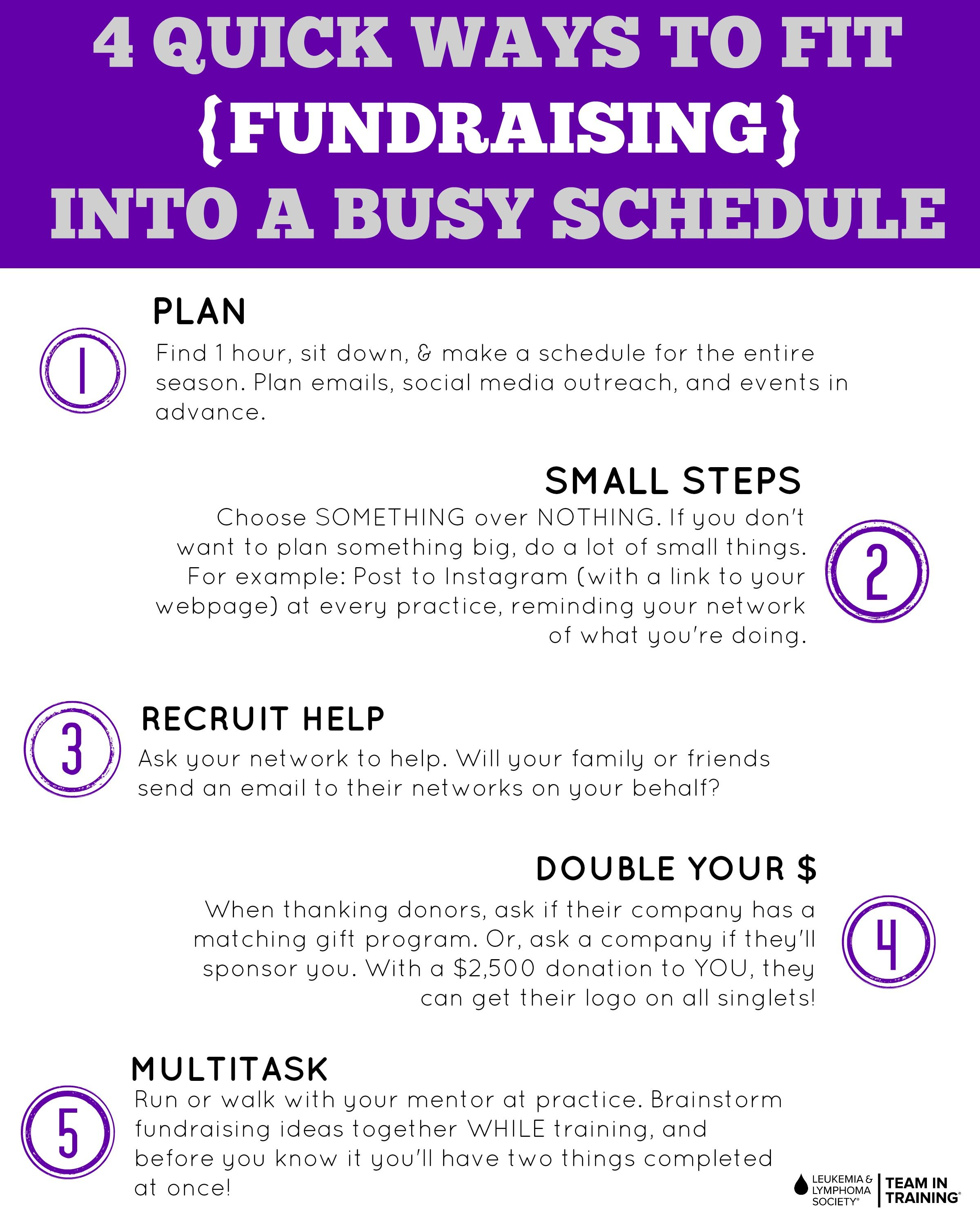 quick fundraising tips - fitting fundraising into a busy schedule
