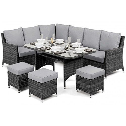 San Diego Rattan Garden Furniture Rose Grey Corner Dining Set with ...