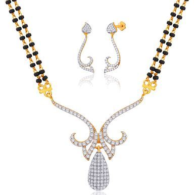 "Viyari Goldtone Cubic Zirconia """"Aaloka"""" Mangalsutra 16 Inch with 1/2 Inch Extender Necklace Earrings Jewelry Set"