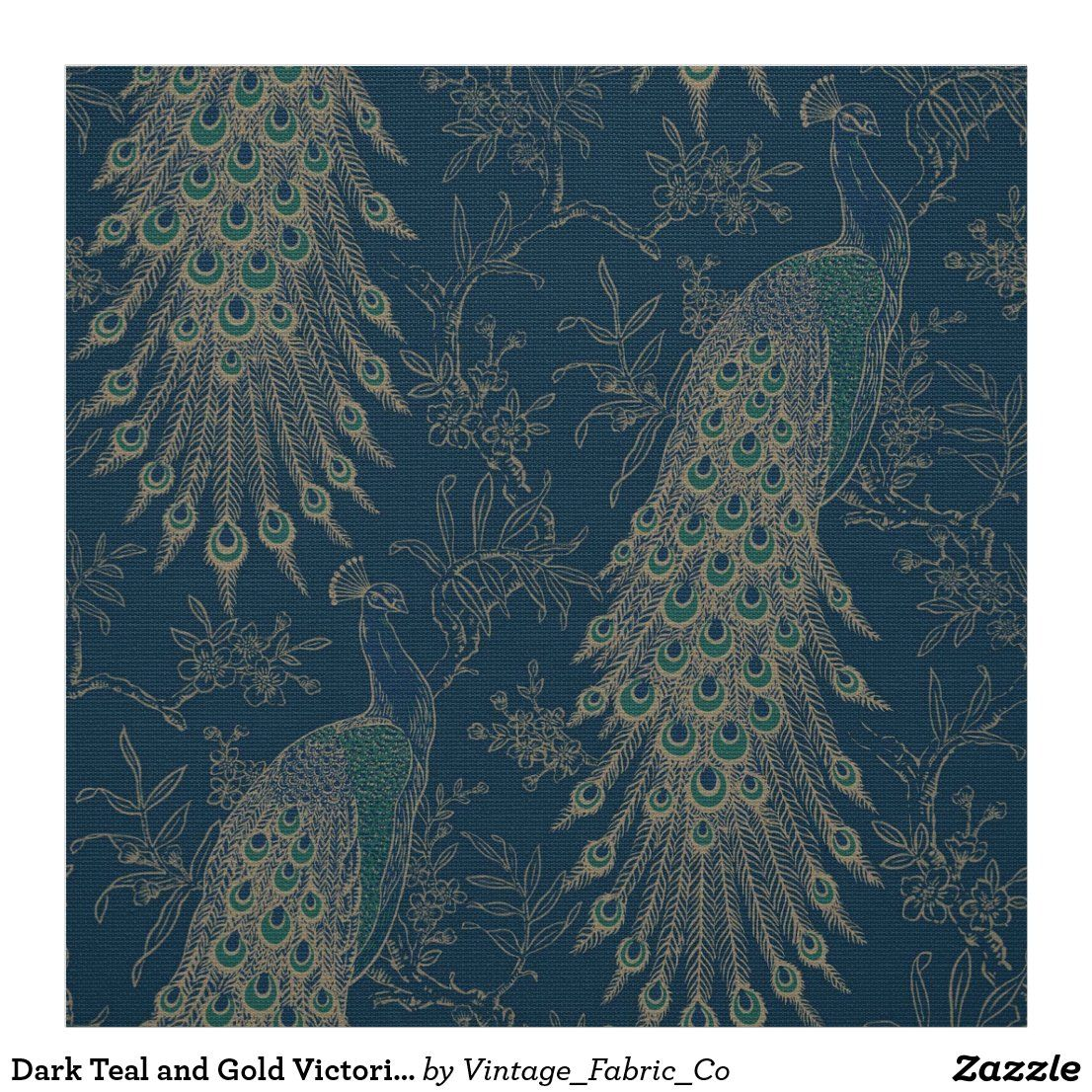 Dark Teal And Gold Victorian Style Peacocks Fabric In 2020 Peacock Wallpaper Peacock Fabric Teal Wallpaper