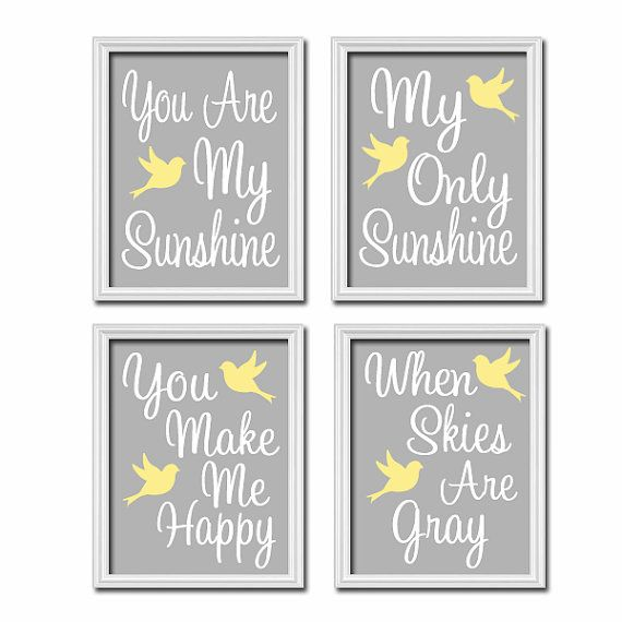 Incroyable You Are My Sunshine Wall Art Decor Canvas Gray Grey Yellow Bird Set Of 4  Prints