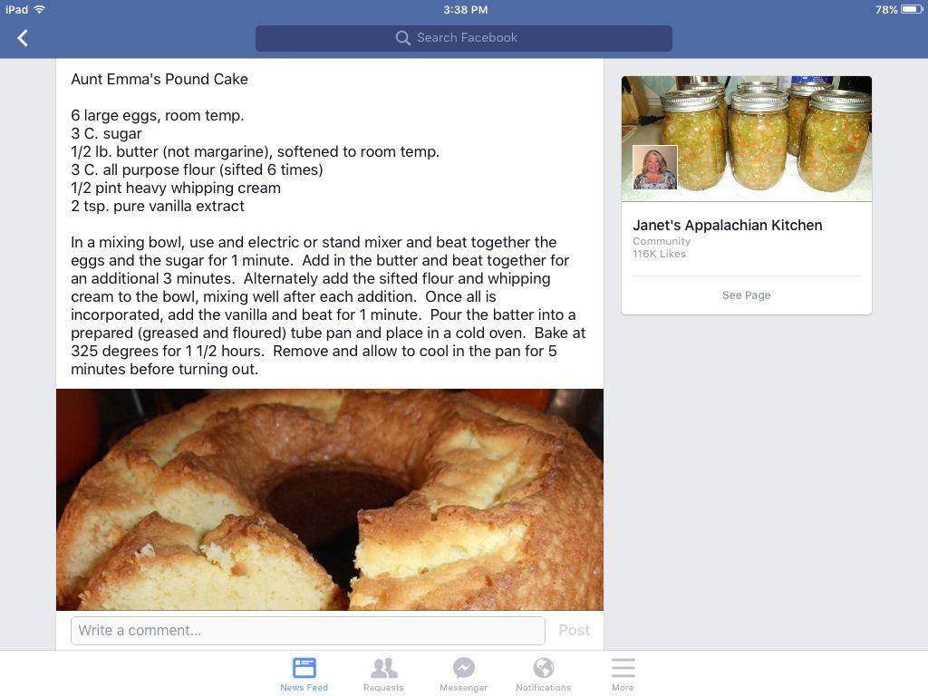 Janet S Appalachian Kitchen Aunt Emma S Pound Cake Food Pound Cake Recipes