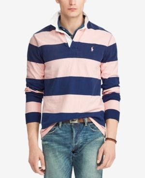 ed9fa99a22 Polo Ralph Lauren Men's Pink Pony Striped Rugby Custom Slim Fit ...