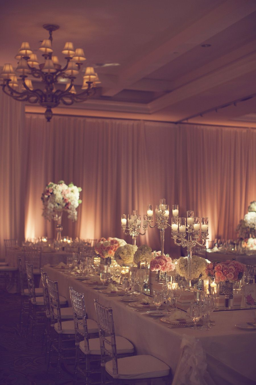 Wedding reception wall draping reception centerpieces for Ball room decoration