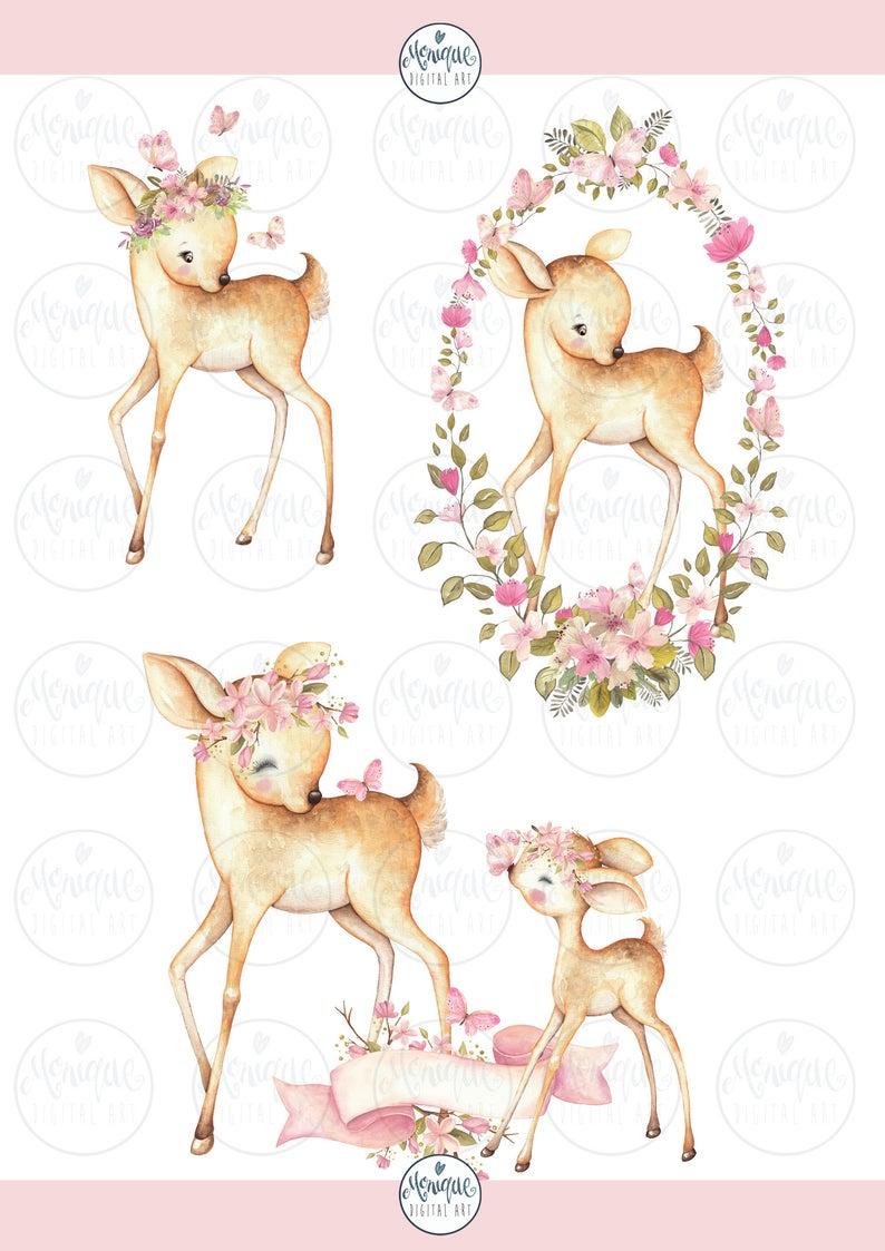 Deer Clipart Watercolor Mother Baby Deer Clipart Cute Deers Etsy In 2021 Baby Deer Clip Art Cute Doodles