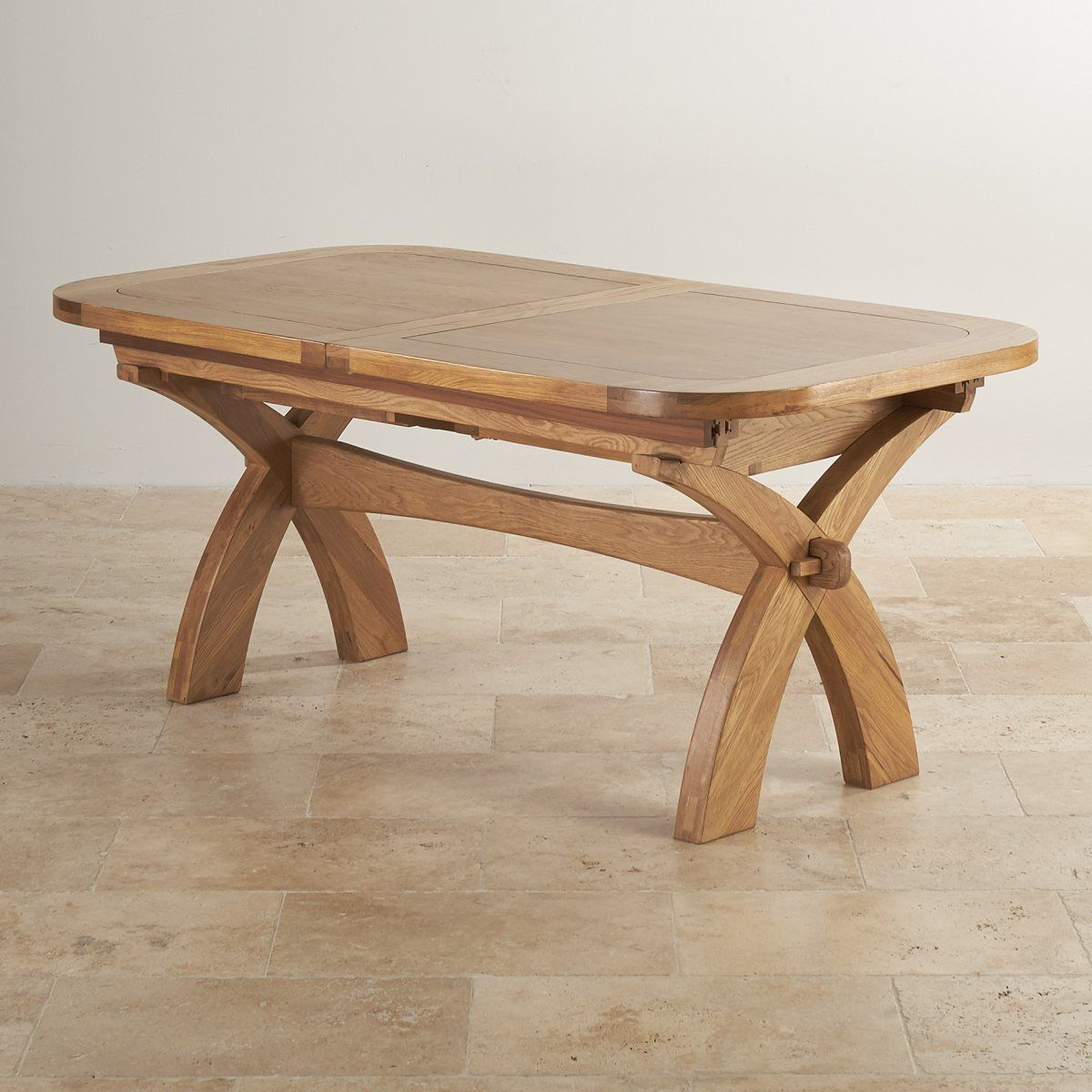 "Hercules 9Ft 2"" X 3Ft 3"" When Extended Natural Solid Oak Prepossessing Dining Room Oak Furniture Design Decoration"