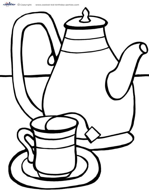simple coloring pages of tea cups | Printable Tea Party Coloring Page 2 - Coolest Free ...