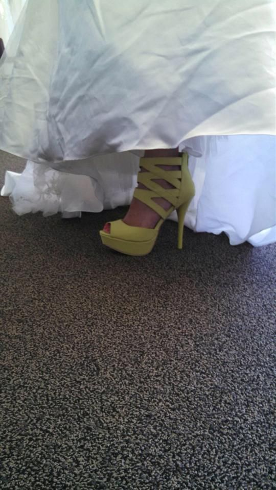Chartreuse caged ankle platforms