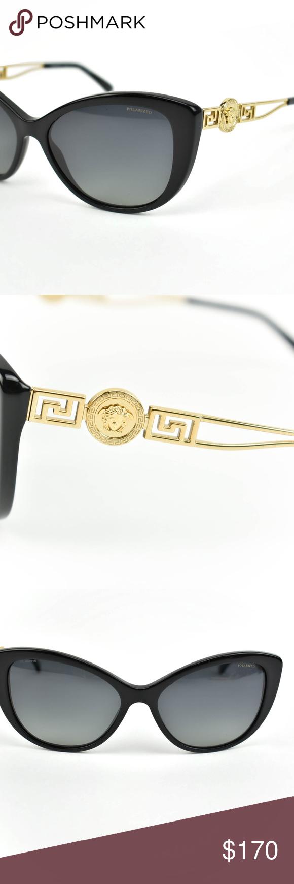 4d1cca3248a VERSACE Black  Gold Medusa Polarized Sunglasses mu Pre-owned (zoom photos)  Frames