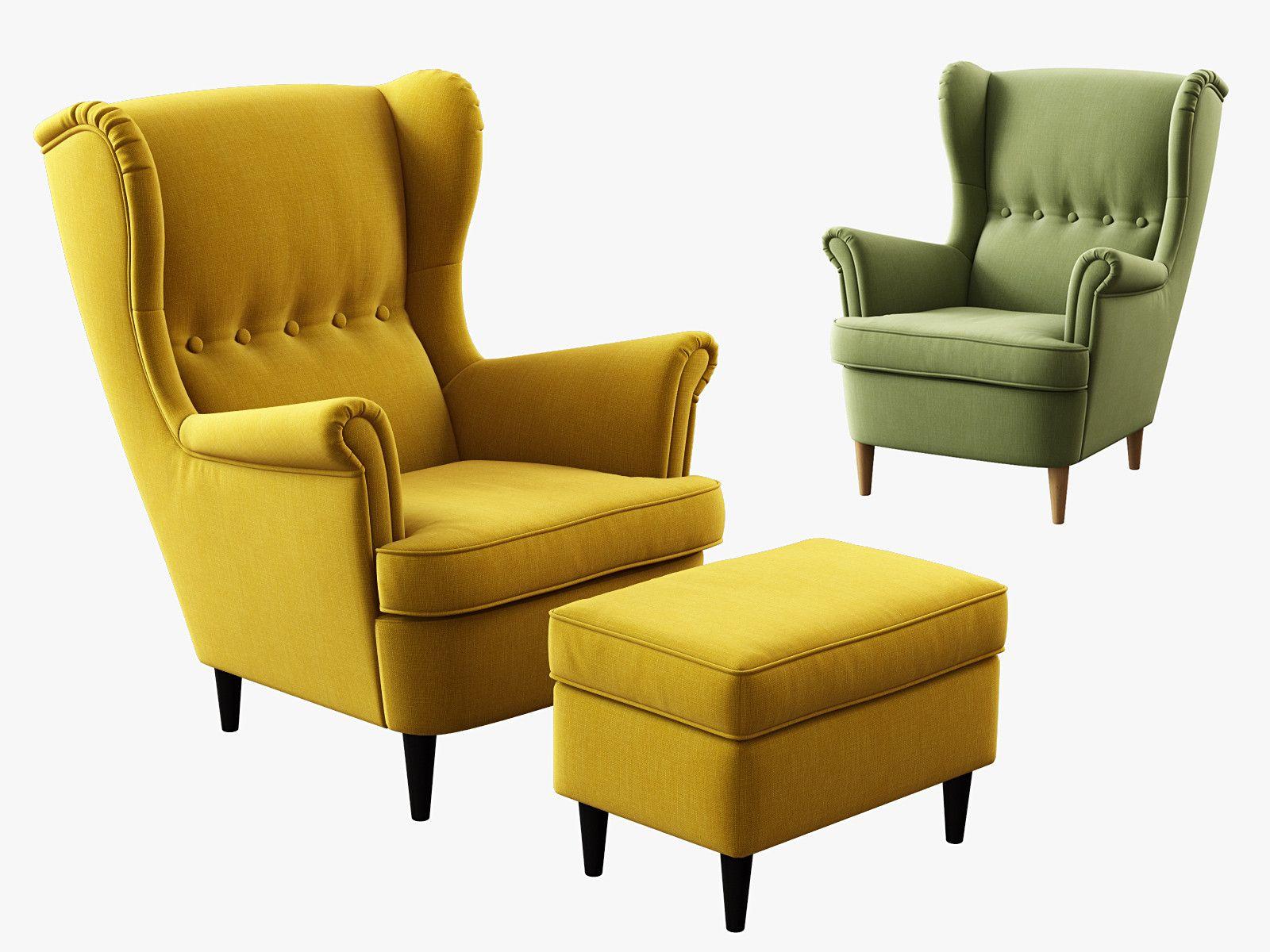 3D Model Ikea Strandmon Wing Chair Ottoman   3D Model