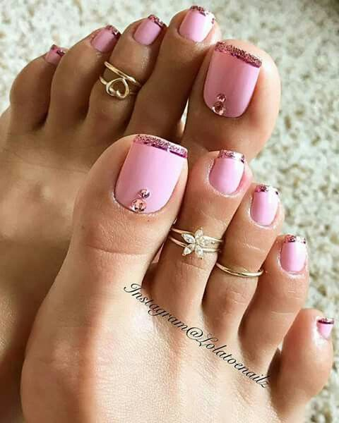 Full Color French With Pink And Rose Gold Tips New Classic Summer Toe Nails Pink Toe Nails Toe Nails