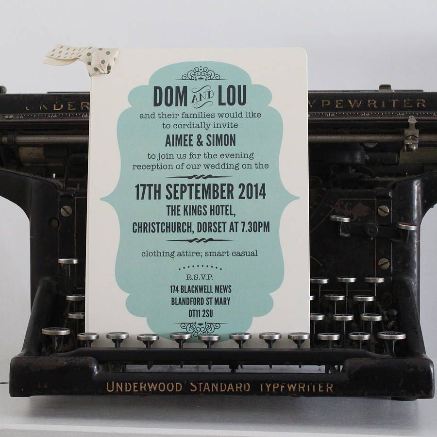 Vintage Style Wedding Evening Invitation | Vintage style weddings ...