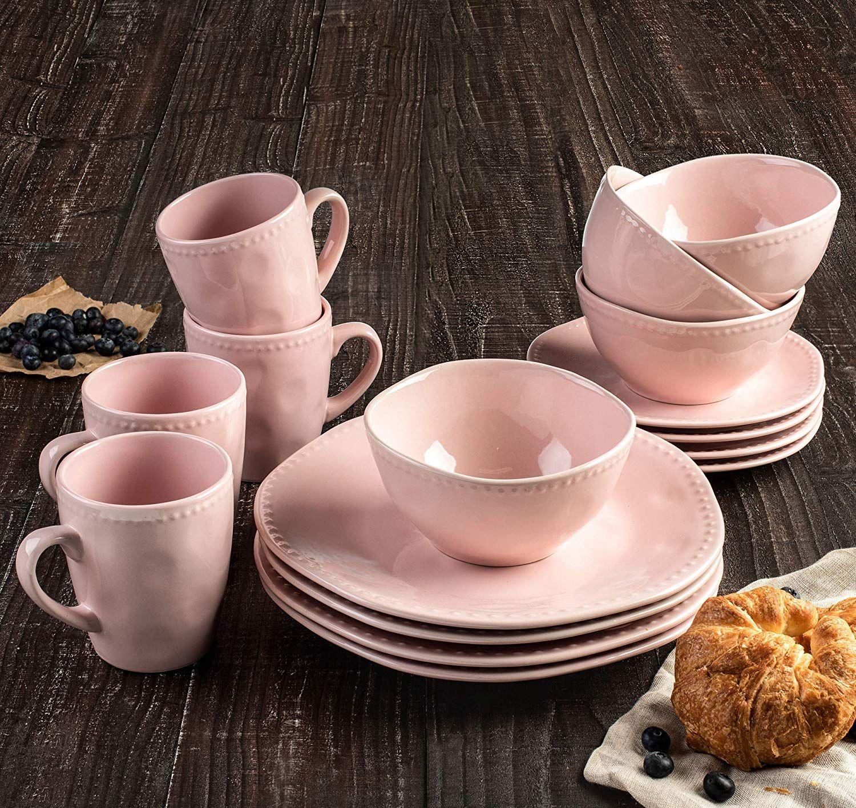Sassy Blush Pink 16 Piece Beaded Dinnerware Set AD (With
