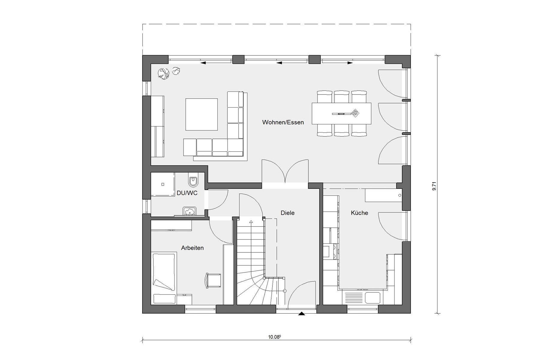 Grundriss Erdgeschoss Haus quadratisch E 15159.2 (mit