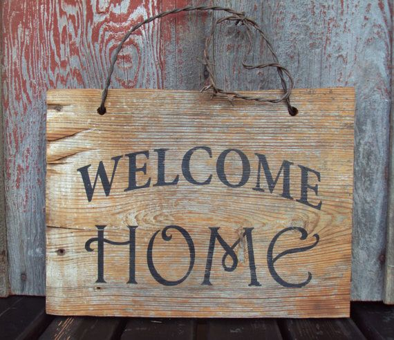 Barn Wood Welcome Home Sign Hand Painted. Rustic Wall