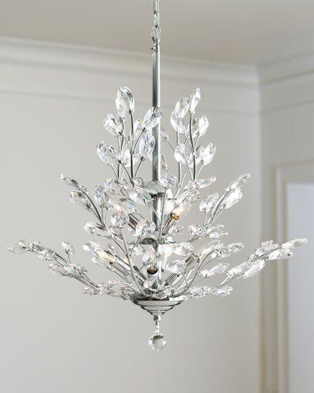Upside Down 9 Light Silver Leaf Chandelier Crystal Chandelier