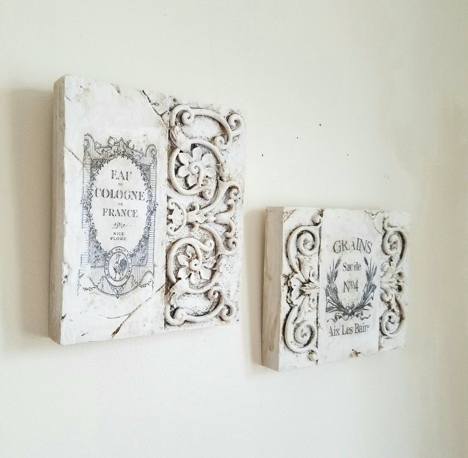 French Wall Decor Wall Plaque Wall Hanging Paris Decor White Distressed Hand Painted Set Of Two Wall Plaques Paris Decor Wall Decor