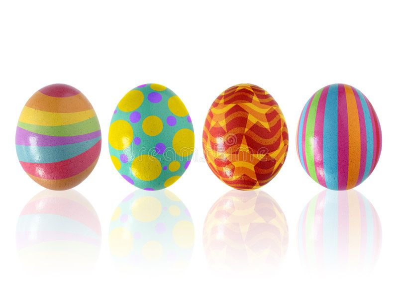 Easter Eggs Four colorful easter eggs aligned in a row isolated in white