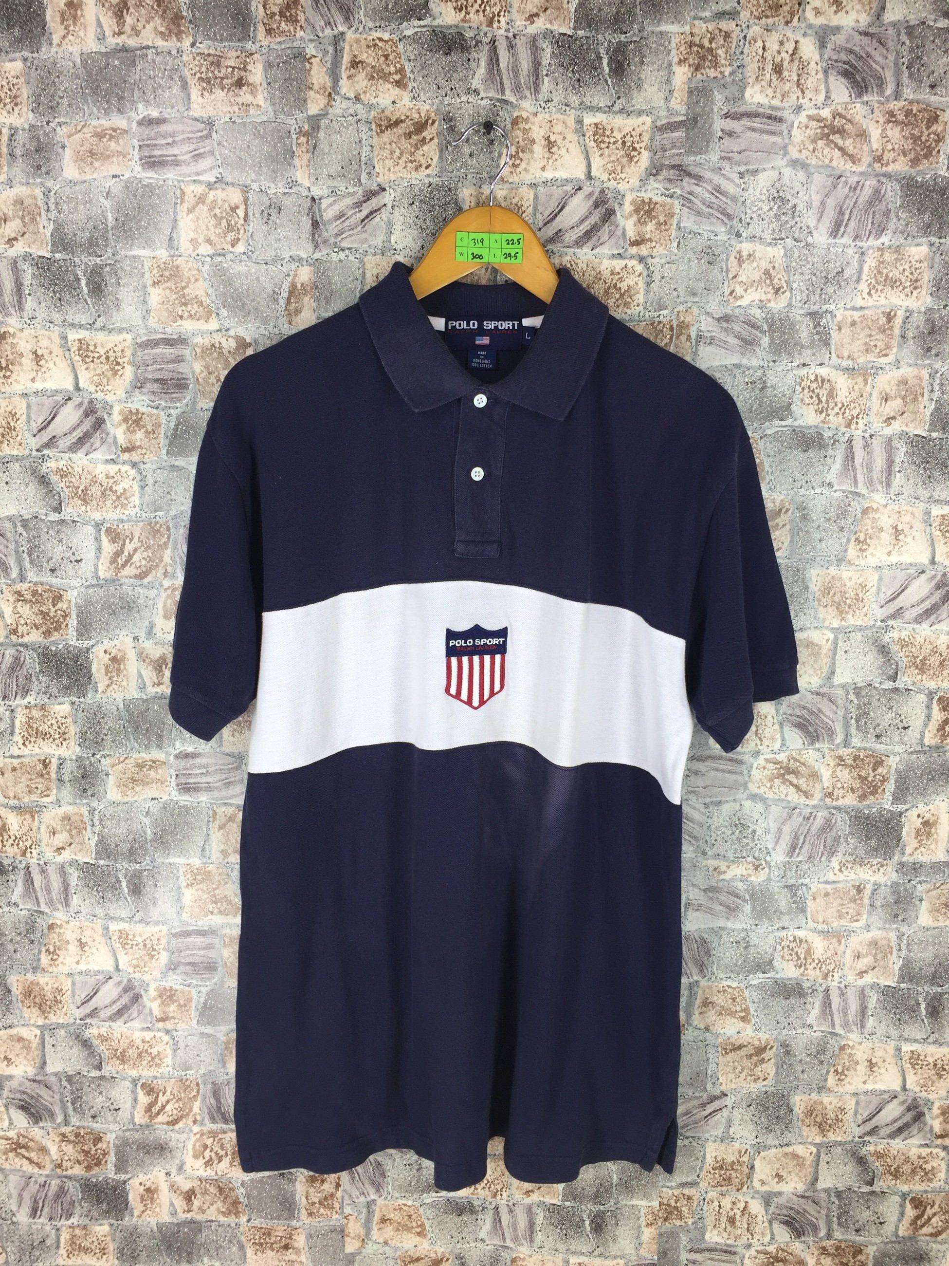 Vintage US POLO Ralph Lauren Usa Flag Spell Out Stadium92 Sportsman Tshirt XLarge