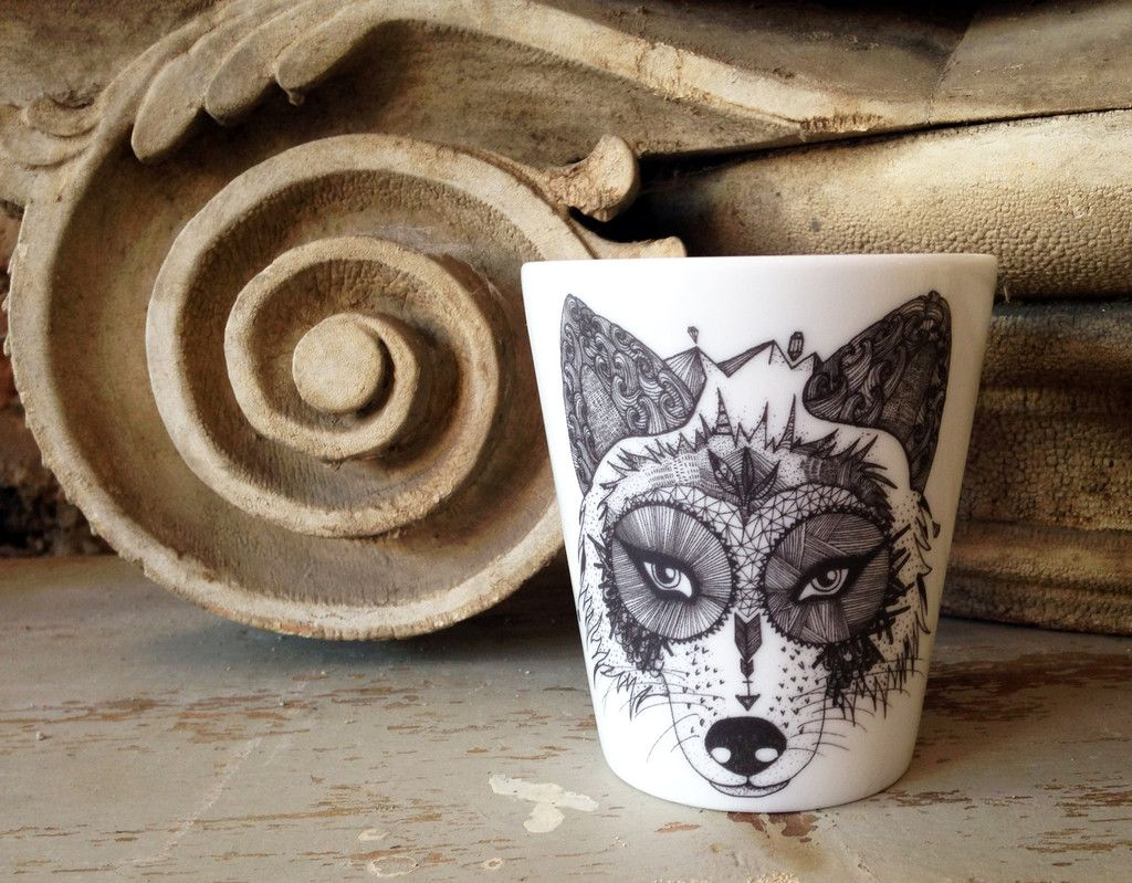 Wolf cup by French artist Little Madi