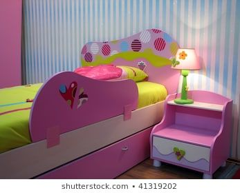Kids Room With Baby Bed Pink Baby Bed And Night Locker Pink