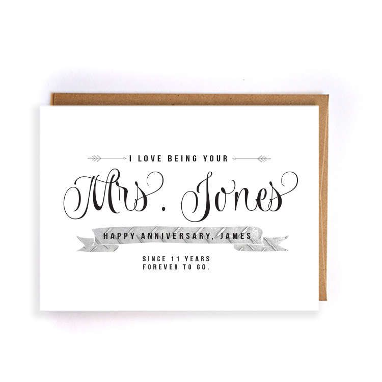 Personalized Name 11th Anniversary Steel 11th Anniversary Cards For