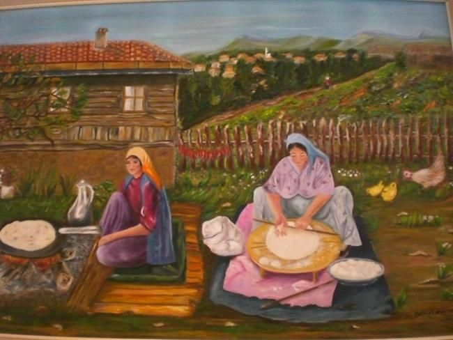 Uzaktaki Köy Painting 50x70 Cm Akdağ Demir Tarafından Yağlı Boya